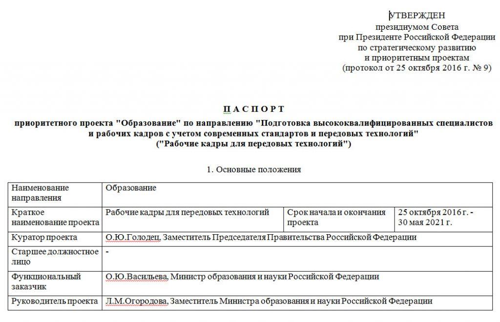 Паспорт проекта Образование титул